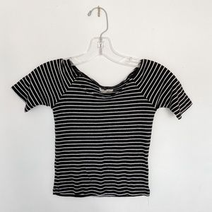 [Silence & Noise] Striped Crop Top